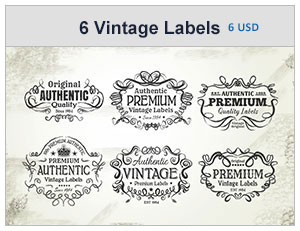 six vintage labels