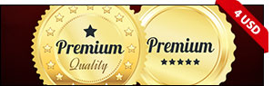 Set Of Golden Premium Badges